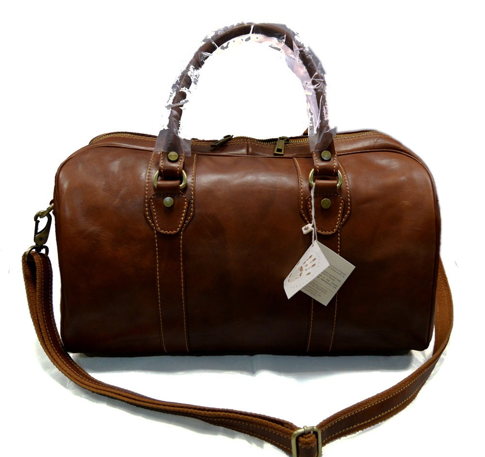 Leather duffle bag genuine leather travel bag overnight bag