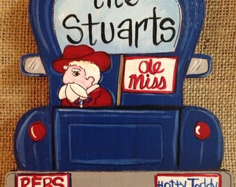 Personalized tailgating truck with mascot ornament, college ornament, christmas ornament, Ole Miss ornament