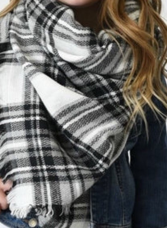 Sale Trendy Plaid Blanket Scarf full size fringe black