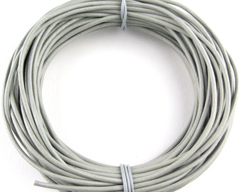 Gray Round Leather Cord 1 mm 10 Feet