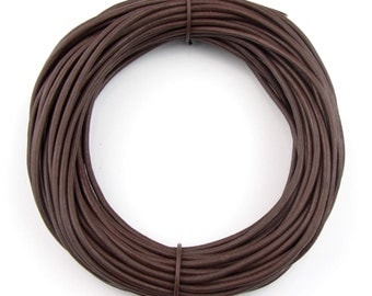 Brown Natural Dye Round Leather Cord 1.5mm 10 meters (11 yards) Lead Free