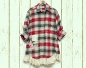 Plus Size Flannel Plaid Shirt Shabby Boho Chic Gussied Up Men's Shirt with ruffles, Upcycled Clothing Free People Inspired