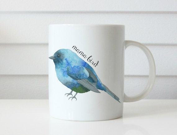 Mama bird mug mom coffee mug mom gift mothers day birthday gift bird mug blue bird pregnant mom mug coffee mug