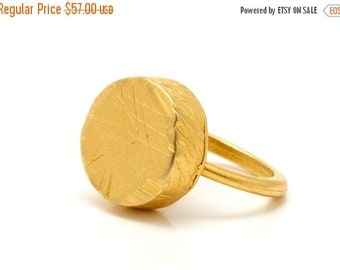 ON SALE 25% OFF Circle gold ring - round 24k gold plated ring - anniversary gift idea