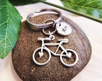 "BICYCLE KEYCHAIN - bike keyring - with initial charm (fits 1-2 characters) Read ""item details"" below and see all photos"