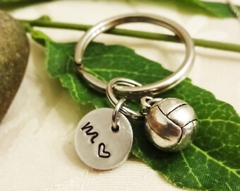 VOLLEYBALL KEYCHAIN with initial charm - Please see all photos to order - One flat rate shipping in my shop :)