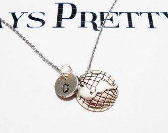EARTH WORLD NECKLACE - personalized with initial charm - choice of chains and length