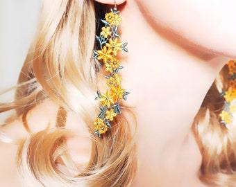 floral orange lace earrings //statement earrings // long charm earrings //dangle long earrings // boho chic earrings
