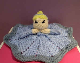 Princess Lovey Security Blanket Baby's Blanket Buddy Royal Girl Blankie Lovie Crocheted Ready to Ship