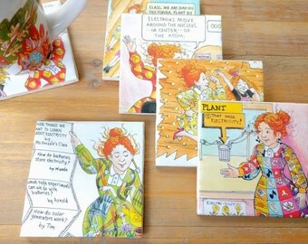 The Magic School Bus Coasters Upcycled Original Book Pages - Set of 6