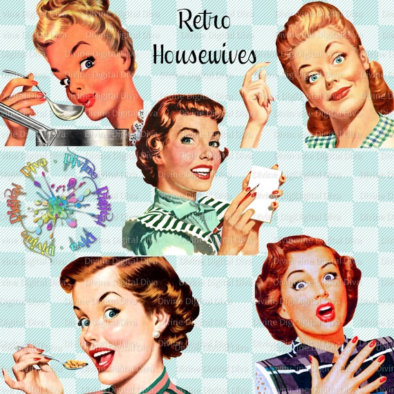 Retro Housewives 50s Vintage Mid Century Modern Women