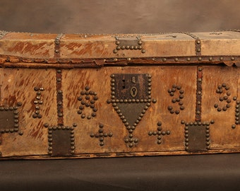 Antique Horsehide Trunk, Western United States