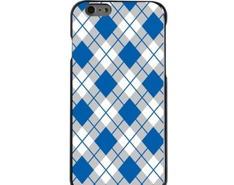 Hard Snap-On Case for Apple 5 5S SE 6 6S 7 Plus - CUSTOM Monogram - Any Colors - Kentucky UK Wildcats Colors - Argyle Pattern