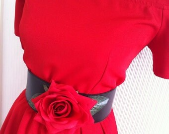 red rose rockerbilly dress 1950 1940 hollywood gown uk 14 usa 12 full skirt belt retro jive