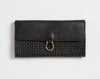 Black textured leather wallet,clutch with slots, minimalist  women's wallet, gift for her, purse, wide wallet, christmas gift