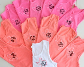 Monogram Tank Tops Set of 14 Wedding Party Gifts Bachelorette Soiree' Swim Suit Cover Comfort Colors