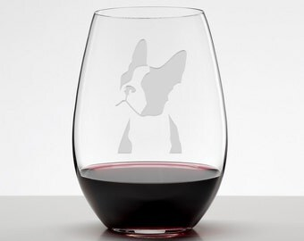 Boston Terrier, Boston Terrier Glass, Boston Terrier Etched Stemless Wineglass