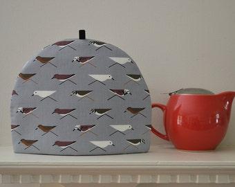 Sandpiper Birds Tea Cozy - Organic Cotton Fabric - Gray tones