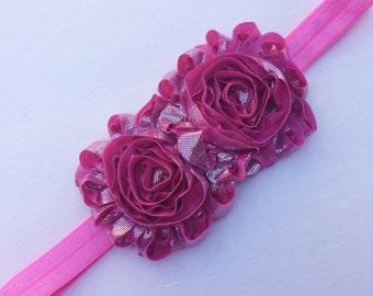 Girl headband - custom sizes - pink - flower headband