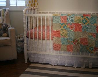 Nursery Bedding, Rag Crib Quilt and Matching Crib Sheet, 2 Piece, Handmade, Designer, coral and aqua, Joel Dewberry, Botanique