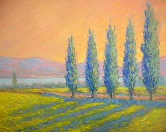 Original sunset landscape Impressionist oil painting, sunset trees, orange blue, Tuscany Italy, Sessa