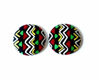 Horizontal Triangle Ethnic Fabric Covered Button Earring