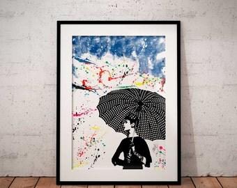 Umbrella rain print, watercolor art,  wall decor, Umbrella rain art print,  watercolor Wall art