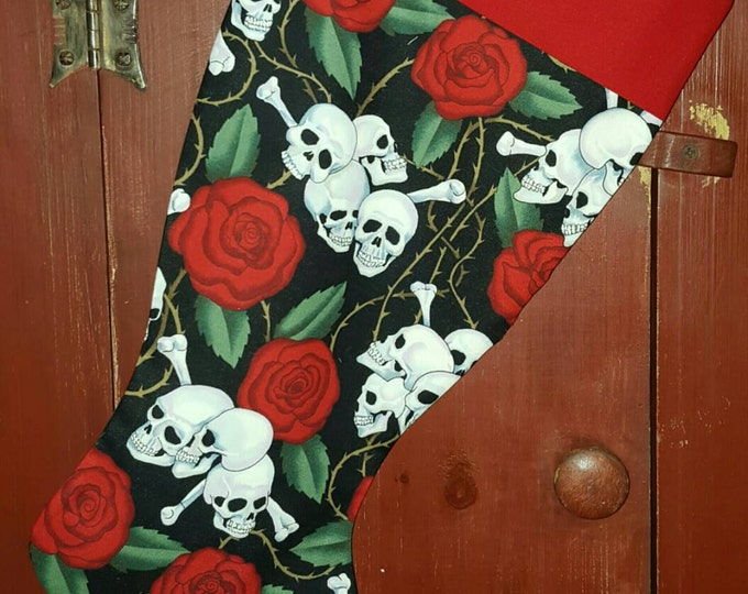 Roses & Skull  Christmas Stocking
