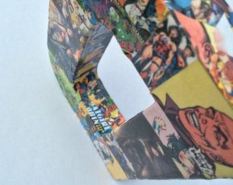 READY to SHIP DC Paper Mache Collage Comic Book Letter D