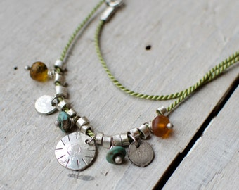 Silver necklace, Bohemian, charm, amber and turquoise natural