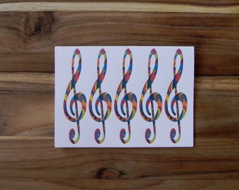 Treble Clef Card Set, Eight blank notecards and envelopes, rainbow,color swirls, music art