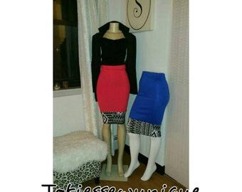 High waist mixed print midi skirt