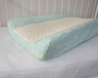 Aqua, Cream, Arrows, Herringbone Designer Baby Contour Changing Pad / Mat Cover with Cream Minky Insert