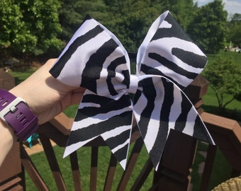 Zebra Print Cheer Bow
