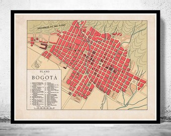 Old Map of Bogotá Colombia 1930