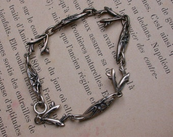 French antique  solid sterling silver bracelet  art deco branch leaf link bracelet engraved flowers  bracelet