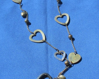 Retro Hearts Beaded Long Metal  Necklace Patina