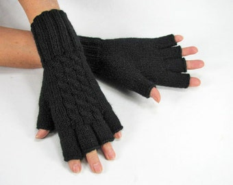 Women's Black, Cabled, Extra Long Half Fingered Gloves, Lambs Wool Blend, Hand Knitted - READY TO SHIP