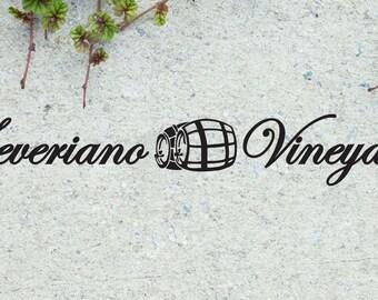 "Custom Vineyard Wine Vinyl Wall Quote Sticker Decal 5.5""h x 36""w"