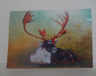 Greetings Card Print - Reindeer on gold leaf