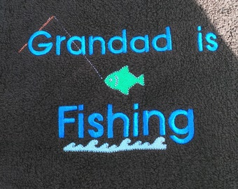 Personalised Fishing Towel - Golf towel with metal clip.  Any name!