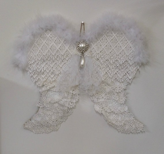 Angel Wings Home Decor: Vintage Lace Angel Wings Wall Decor Shabby By