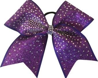 Blazing Rhinestone Purple Glitter Cheer Bow