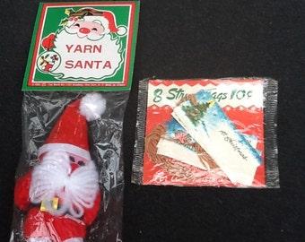 1960's Dime store Christmas string tags and yarn Santa.