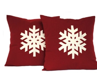 Two Snowflake Christmas Pillow covers, holiday pillow, decorative pillow, cushion, Christmas decoration