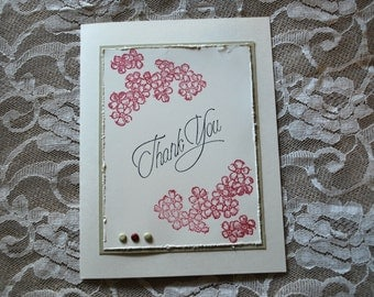 Handmade Greeting Card: Medium size, Thank you, vanilla, rose & pale green.