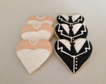 Bride and Groom Heart Shaped Sugar Cookies