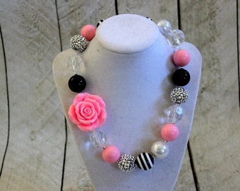 pink and black chunky bubblegum bead necklace pink black birthday necklace girls necklace chunky necklace summer bubble gum necklace