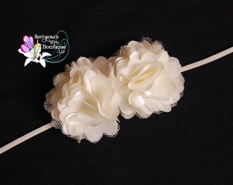 Mini Ivory Satin Tulle Flower Skinny Headband - Baby Girl Toddler - SB-038