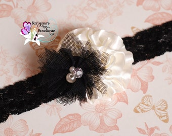Ivory Black Satin Tulle Flower Lace Headband - Baby Toddler Girl Woman - SB-084